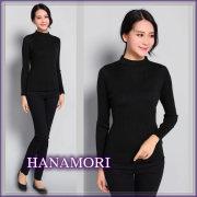 ■新作新色・シルクウールボトルネックリブセーター【薄くても暖か】シルクを85%まで贅沢に【ブラック】
