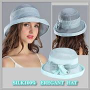 【受賞記念】★透け感がエレガントな【シルクの帽子】紫外線対策にも♪【フェアリーグリーン】