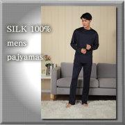 紳士 ニットシルクパジャマ ネイビー【SILK100%】