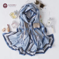 ■高級シルクサテンをたっぷり使った■【ホース柄デザインの】ロングスカーフ【美しく品のよい光沢感】