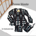 アート柄【シルク100%パジャマ】婦人 ニットシルク丸首パジャマ ■ シルクジャージー生地の軽やか素材 ■ 細番手のトップ糸のシルクジャージパジャマ
