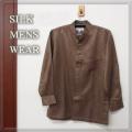★ゴールドブラウン【Men's SILK】 紳士アウター シルクペイズリー柄スタンドカラーシャツ 【限定販売】ゆったりサイズ【6割引】