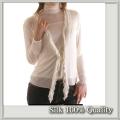 【Silk Quality】うっとりエレガント【シルク100%ガーゼ フリルカーディガン】ホワイト