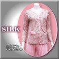 ■シルク ブラトップ付きパジャマ 【ピンク103】【トラベルポーチ付】【期間限定価格】