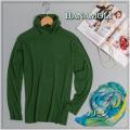 ■シルクウール★ルーズネックでもタートルネックでもOKのセーター【薄くても暖か】シルクを85%まで贅沢に【グリーン・オレンジ】36%OFF