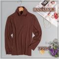 ■シルクウール★ルーズネックでもタートルネックでもOKのセーター【薄くても暖か】シルクを85%まで贅沢に【ブラウン】36%OFF