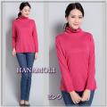 ■シルクウール★ルーズネックでもタートルネックでもOKのセーター【薄くても暖か】シルクを85%まで贅沢に【ピンク】36%OFF