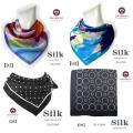 【半額】★【贅沢な肌触り】絹100%シルクサテン プチスカーフ【4柄】52cm角★【サテンの光沢が美しい】