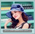 透け感がエレガントな【シルクの帽子】【サックス】つばが広めで紫外線対策にも♪【数量限定】