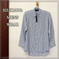 【Men's SILK】 紳士アウター シルク100%Yシャツ 【限定販売】ゆったりサイズ【6割引】ブルーストライプ