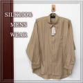 【Men's SILK】 紳士アウター シルク100%Yシャツ 【限定販売】ゆったりサイズ【6割引】セピアゴールド