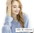 【silk&cotton】うっとり肌触り天竺ニットシルクテーラーパジャマ ■ 快適睡眠!