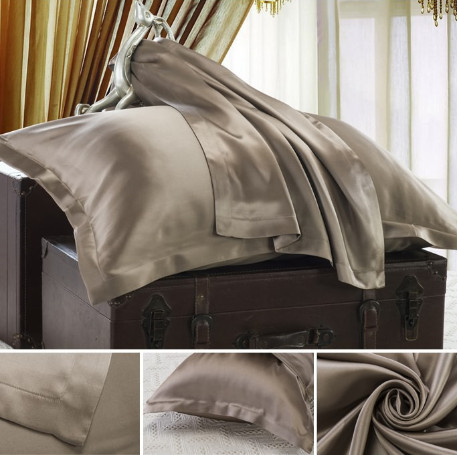 コーヒー色のシルク枕カバー