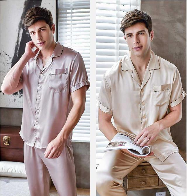 メンズシルク半袖パジャマ
