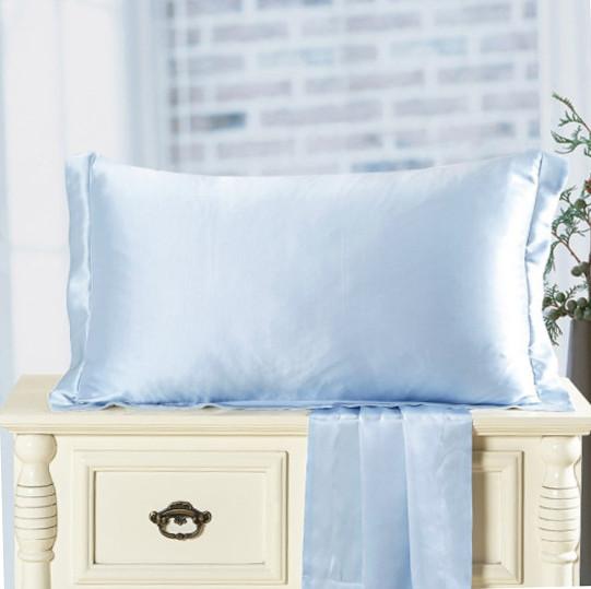水色のシルク枕カバー