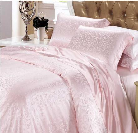 ピンクジャガード織りシルクシーツ