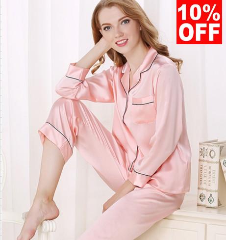 在庫セール シルク長袖パジャマ ピンク