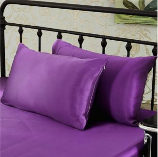 パープル 紫色のシルク枕カバー