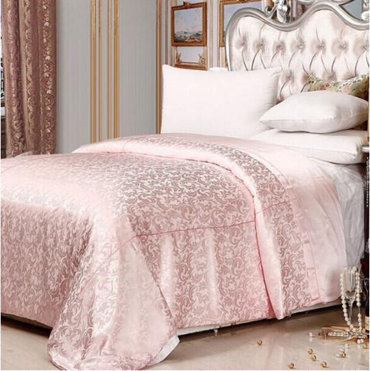 ピンクジャガード織り シルクシーツ