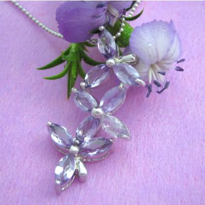 【送料無料】代引手数料込みでお得!ステキな花のアメジストのシルバーネックレス