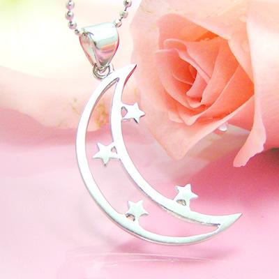 大きな月とかわいいお星さんのシルバーペンダント
