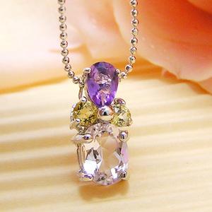 マルチカラークリスタル(紫水晶・黄水晶・水晶)のシルバーネックレス