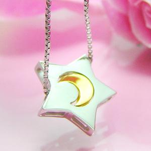 【送料無料】星の中にゴールドの月があるシルバーネックレス