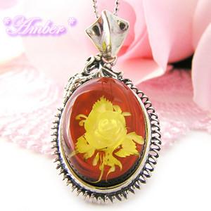 【送料無料】琥珀(アンバー)の心に永遠で咲いてるバラの楕円のシルバーネックレス