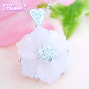 永遠の愛を咲いて花の天然ローズクォーツ(紅水晶)のシルバーネックレス
