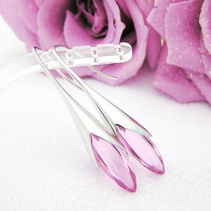 ピンク水晶が美しいエレガントなシルバーピアス