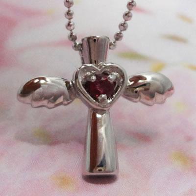 ルビーネックレス ハートとクロスの天使