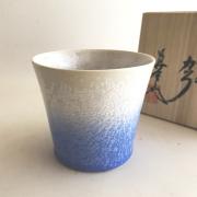藍染水滴 ビアグラス (真右ェ門窯)桐箱入