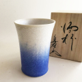 藍染水滴ロックカップ (竹形) 真右エ門窯/桐箱入り