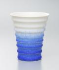 藍染水滴段付酒杯(真右エ門窯)桐箱入