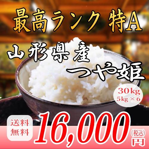 28年産山形県産つや姫!30kg白米!!送料無料!九州・沖縄・一部離島は配送圏外。