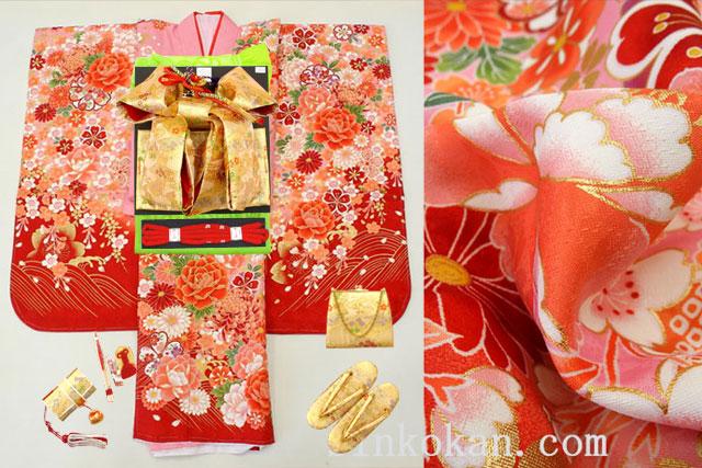七五三 7歳用女の子高級着物フルセット◆ピンク系 桜に花々◆sdss001※レンタルも可