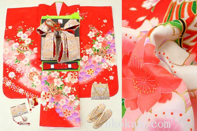 七五三 正絹7歳用女の子高級着物フルセット◆赤色 桜に花車◆sdtt9956※レンタルも可