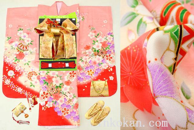 七五三 正絹7歳用女の子高級着物フルセット◆ピンク色系 桜に花車◆sdtt9961※レンタルも可