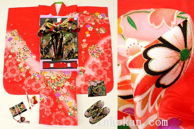 七五三 正絹7歳用女の子高級着物フルセット◆赤色系 鞠に桜◆sdtt9965※レンタルも可