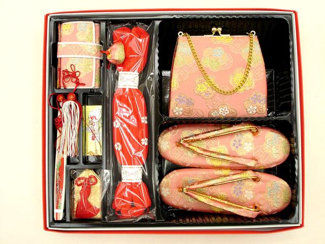 七五三やお祝着の着物に 女の子 7歳用 箱せこセット◇淡桃色系◇1011