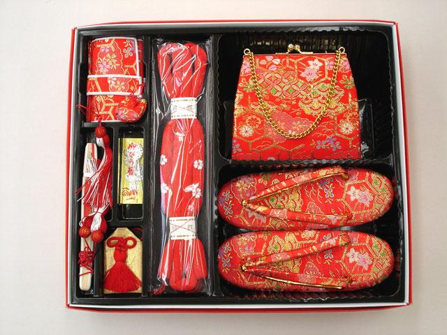 七五三やお祝着の着物に 女の子 7歳用 箱せこセット◇赤色系◇1003