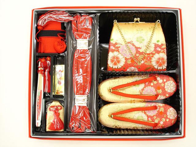 七五三やお祝着の着物に 女の子 7歳用 段織り 高級 箱せこセット◇金朱赤色系◇1064