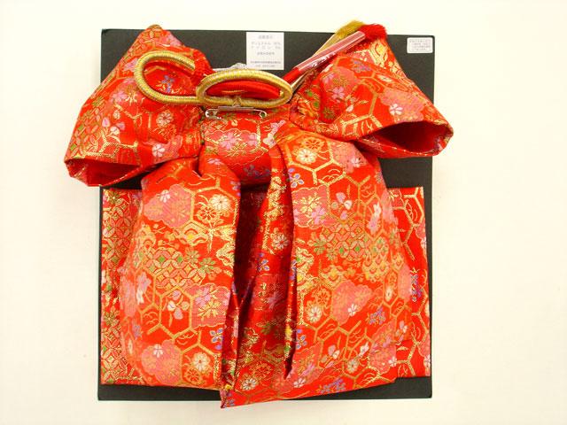 七五三やお祝着の着物に 女の子 7歳用 結び帯 大寸◇赤色系◇2004