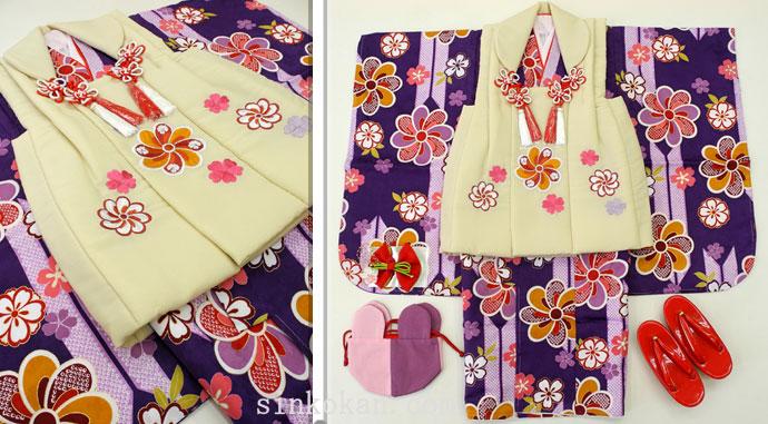 七五三 新作 3歳女の子着物(被布コート)セット◆紫色系 矢絣に花◆sd5891