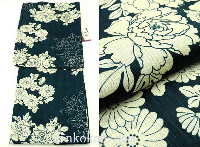 夏祭りや花火大会に!2017年新作 夏物 女性用 綿麻 仕立て上り 高級浴衣(変り織り)◆濃紺色系◆7837