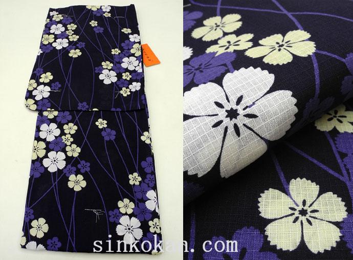 夏祭りや花火大会に!2017年新作 夏物 女性 浴衣(ゆかた)◆濃紺色系 撫子◆7935