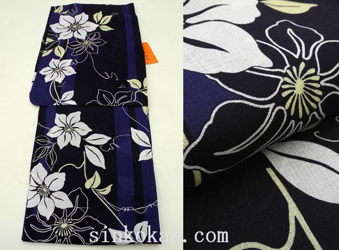 夏祭りや花火大会に!2017年新作 夏物 女性 浴衣(ゆかた)◆黒濃紺系 花◆7939