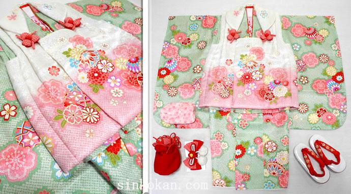 七五三 新作 正絹 3歳女の子着物(被布コート)セット【梅】◆白ピンク系/黄緑色系 絞り柄 桜に鞠◆474