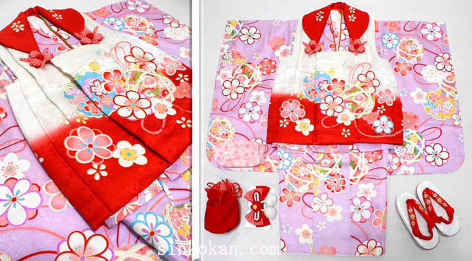 七五三 新作 正絹 3歳女の子着物(被布コート)セット【梅】◆白赤色系/薄紫色系 桜に紐大鞠◆464