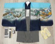 七五三 新作 5歳男の子着物フルセット◆水色系 兜に御所車◆ngt8363※レンタルも可